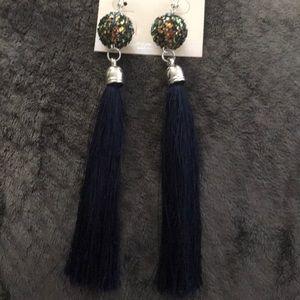 Jewelry - Multi color/Navy blue tassel earring